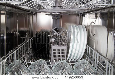 Dishes After Cleaning In Dishwasher Machine