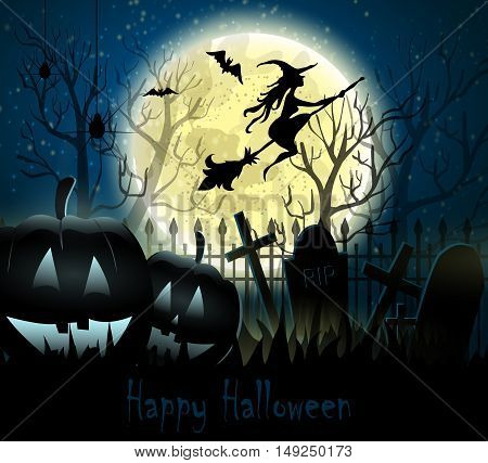 Halloween spooky background with moon fence witch bats and two pumpkins. Vector.