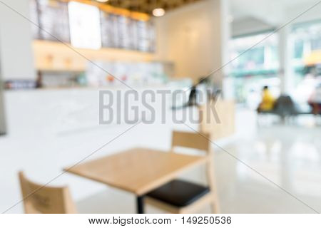 Blur coffee shop or cafe restaurant with bokeh background product display