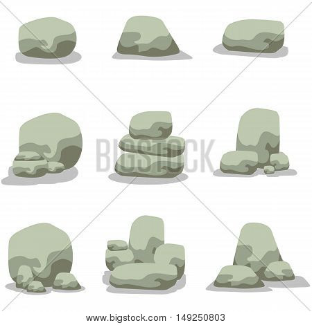 Vector illustration of stone rock set collection