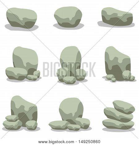 Design stone element set of vector illustration