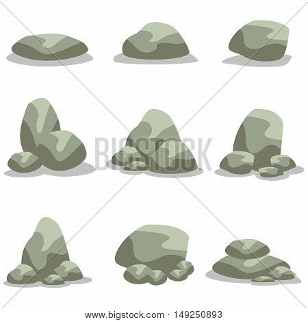 Rock stone set of vector art illustration collection