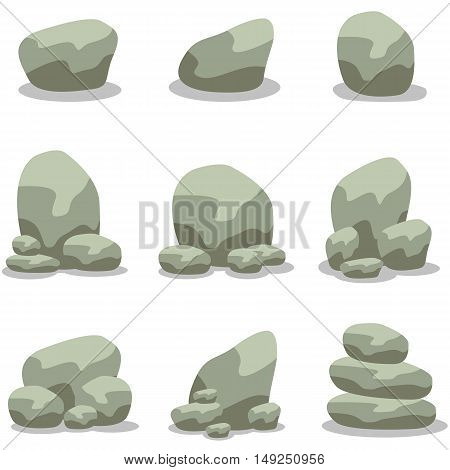 Rock set design collection of vector art illustration