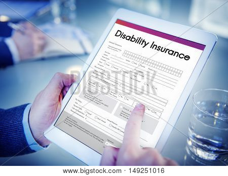 Disability Insurance Claim Form Document Concept
