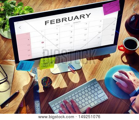 February Monthly Calendar Weekly Date Concept