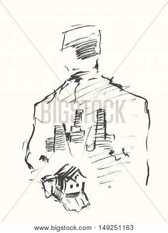 House in human hand on a white background. Double exposure of a city and businessman portrait. hand drawn vector illustration, sketch