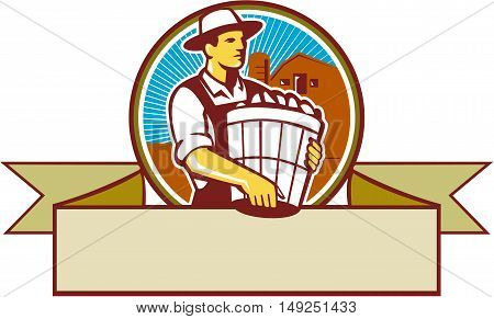 Illustration of an organic farmer carrying basket of harvest crops looking to the side set inside circle and ribbon with barn and sunburst in the background done in retro style.