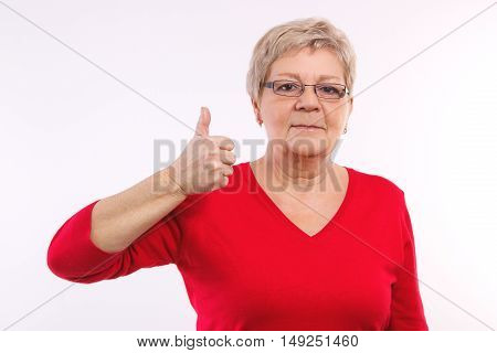 Elderly Woman Showing Thumbs Up, Positive Emotions In Old Age