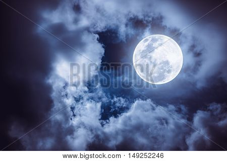 Nighttime Sky With Cloudy And Bright Full Moon Would Make A Great Background.
