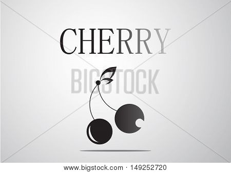 Cherry logo decorate by the leaves. vector illustration.
