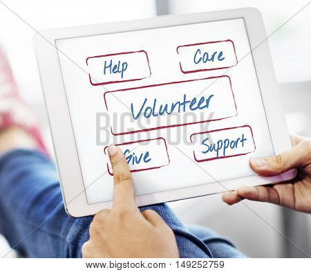Community Donations Fundraising Volunteer Concept