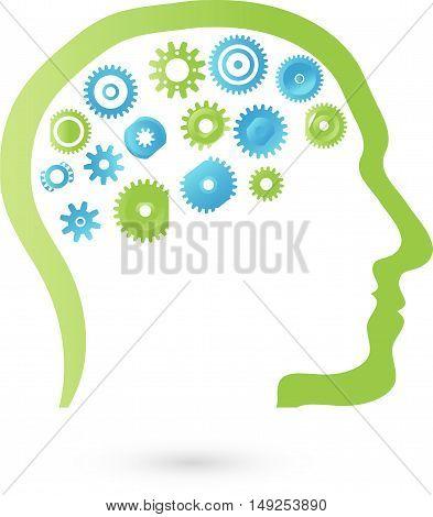 Head gears, symbols, characters, man, logo, Think