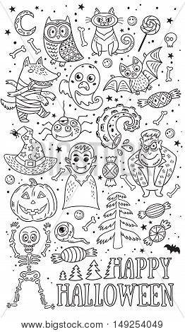 Happy Halloween. Vector outline set of characters and icons for Halloween. Pumpkin, ghost, bat, candy and owl, cat, wolf, spider, skeleton. Illustration on yellow background