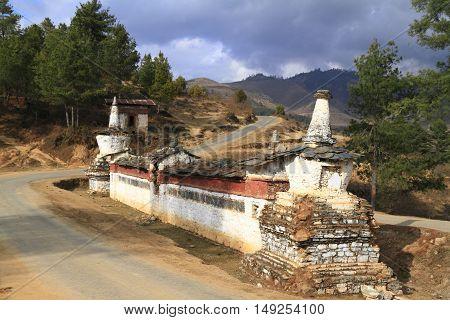 Buddhist Wall On The Road In Wangdue Phodrang  Valley, Bhutan