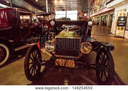 El Segundo, CA, USA - September 26, 2016: Black 1915 Ford Model T Roadster displayed at the Automobile Driving Museum in El Segundo, California, United States. Editorial use only.