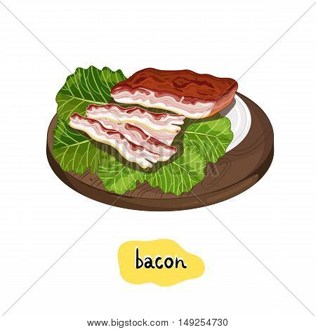 Bacon slice on cutting board isolated on white background vector illustration. Roasted meat, bbq concept.