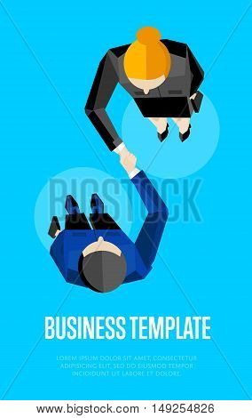 Business template, vector illustration. Top view of two business partners shaking hands on blue background. Manager business meeting to employees. Contract conclusion. Union symbol