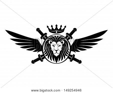 Shield with lion head, swords, wings and crown.