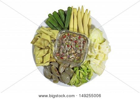 Nam prik or chili paste with various boiled vegetables (Thai food)