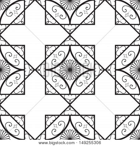 Vector seamless pattern. oldfusion texture. Repeating geometric tiles with swirl elements