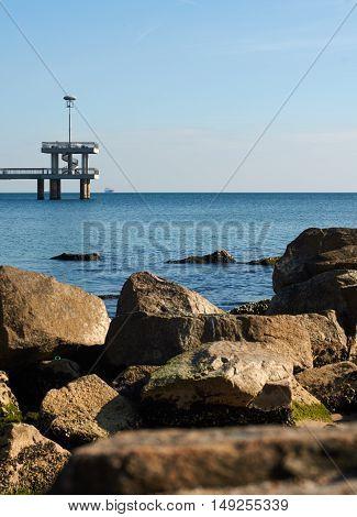 Burgas Bridge. sea and rocky shore in autumn