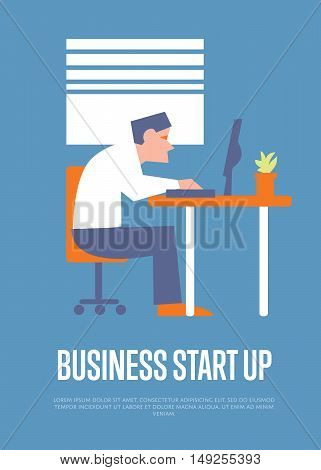 Business start up banner with businessman sitting at table and working at desktop computer, isolated vector illustration on blue background. Successful start up concept. Office life.