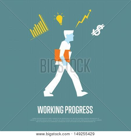 Businessman with folder walking and thinking about work. Working process banner, isolated vector illustration on gray background. Office life. Well organized work process. Workflow concept