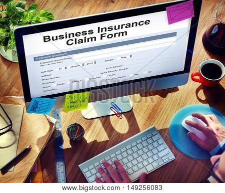 Business Insurance Claim Form Document Concept
