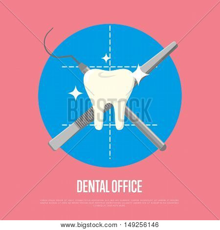 Dental care concept. Dental care flat vector illustration. Dental care symbols. Dentist work. Dental elements. Graphic for dental clinic or dentist office. Tooth icon. Dentist character with dentist tools. Dental background