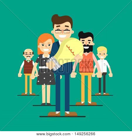 Group of smiling and young cartoon business people stand on green background. Team success vector illustration. Teamwork concept. New creative idea, innovation and solution, brainstorm concept.