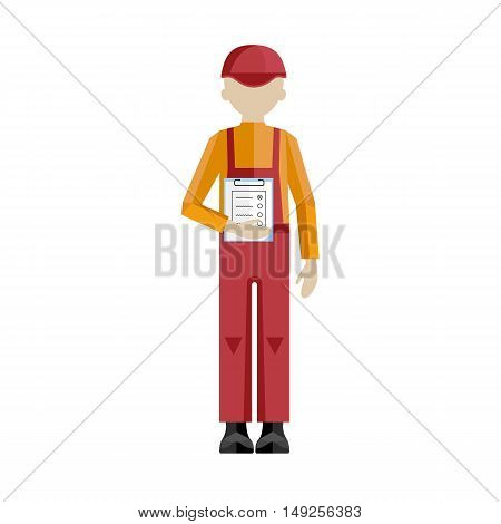 Delivery man on the work isolated vector illustration on white background. Professional delivery man concept. Delivery service concept. Delivery man with tasks. Cartoon delivery man character.