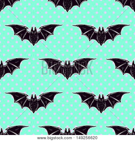 Seamless Halloween pattern. Halloween bats. Hand drawn holiday symbols. Isolated vector illustration. Cute gothic style art.