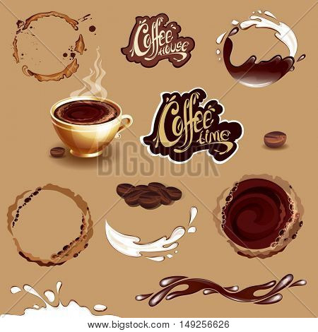 Coffee, milk and chocolate. Set of coffee design elements. Splashes, stains and cup. Coffee time and coffee house logos. Raster version.