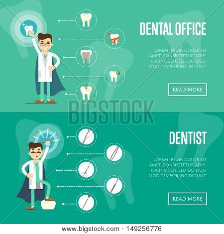Dental office horizontal website templates with male dentist in medical uniform and superhero cape on green background with instrument and teeth icons, vector illustration. Oral hygiene, tooth health