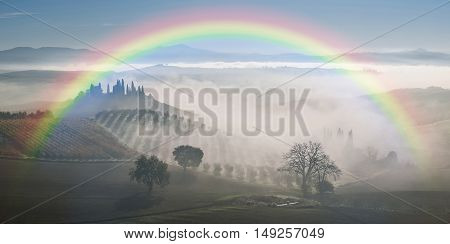 Landscape With Rainbow And Garden