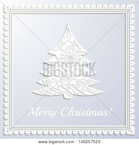 Vector merry Christmas white paper card with applique tree and frame