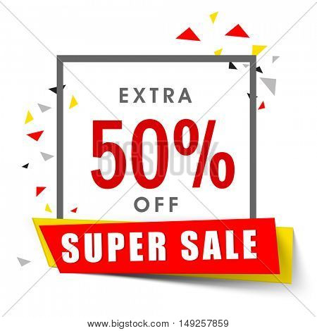 Super Sale Banner, Poster, Pamphlet or Flyer with 50% Discount Offer. Vector Illustration.