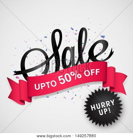 Sale Poster, Banner or Flyer with 50% Discount Offer Ribbon. Vector Illustration.