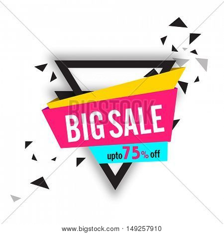Big Sale Banners with 75% Discount Offer and abstract triangle. Can be used as Sticker, Tag or Labels design.