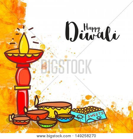 Colourful creative Lit Lamps with Sweets, Vector Greeting Card for Indian Festival of Lights, Happy Diwali Celebration.