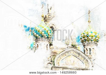 Church of the Savior on Blood in Saint-Petersburg, Russia. One of the main touristic attractions in the city. Vintage painting, background illustration,