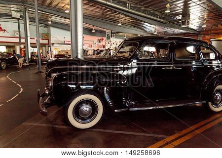El Segundo, CA, USA - September 26, 2016: Black 1947 Packard Super Clipper displayed at the Automobile Driving Museum in El Segundo, California, United States. Editorial use only.