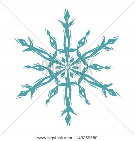 Snowflake linocut style logo in blue and white, vector illustration