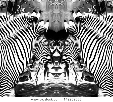 drawing and painting zebras in black and white