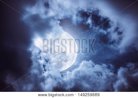 Nighttime Sky With Cloudy And Bright Moon Would Make A Great Background.