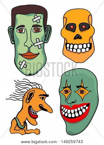 Set of Halloween Monsters. Vector illustration.