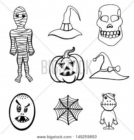 Monochrome Set of Halloween Monsters and Hats. Black and white Vector illustration. Isolated on white