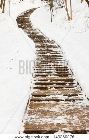Empty path in the snow. Park stairway during winter. Outdoor environment concept.