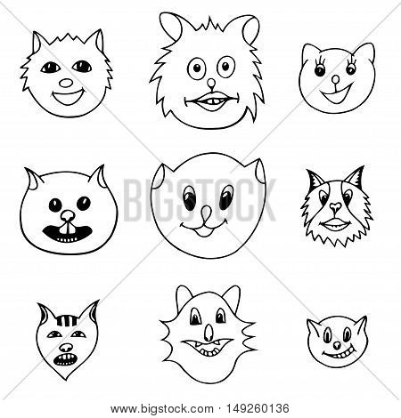 Set Of Different Adorable Cartoon Cats Faces. Black and white Vector illustration. Hand drawn art sketch cat.