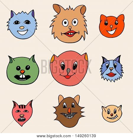 Set Of Different Adorable Cartoon Cats Faces. Colored Vector illustration. Hand drawn art sketch cat.